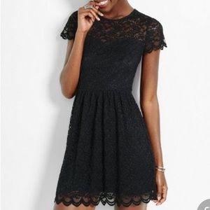 Express Short Sleeve Fit & Flare Dress